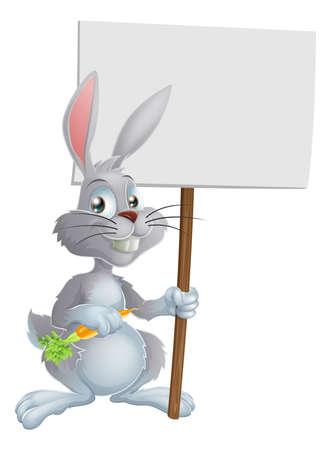 osterhase: Cartoon white bunny rabbit holding a carrot and sign Illustration