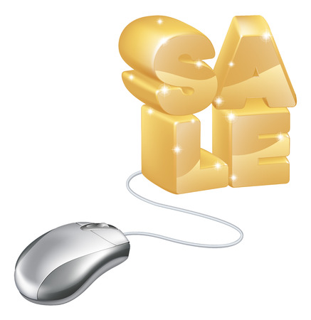 troley: Computer mouse internet sale concept, a computer mouse connected to the word sale