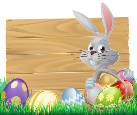 buny: Easter wood sign with the Easter bunny and painted Easter eggs Illustration