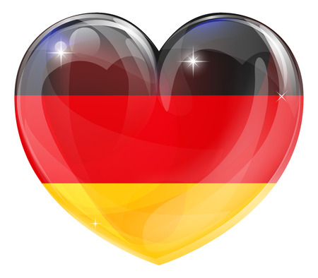 black fan: Germany flag love heart concept with the German flag in a heart shape