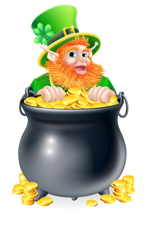 An illustration of a St Patricks day leprechaun with a pot of gold