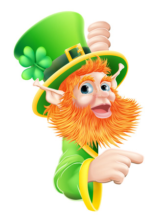 A leprechaun cartoon character pointing at a sign or message from the side Stock Vector - 26376825