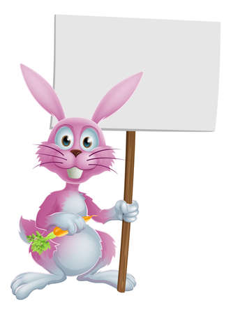 osterhase: Pink cartoon bunny rabbit holding a carrot and billboard and sign