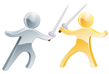 dueling: Fencing concept of two people fighting with swords, concept fo competition or similar