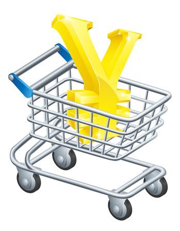 supermarket shopping cart: Concepto de carro de divisas Yen Yen de signo en un carro de supermercado o carro Vectores