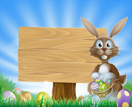 Illustration of Easter eggs bunny rabbit and a wooden sign  Vector