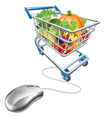 Online grocery shopping concept, of a computermouse connected to a shopping cart trolley full of health vegetables Vector
