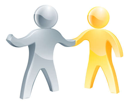 agreement shaking hands: Partnership concept, a gold and silver man shaking hands together