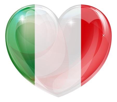 Italy flag love heart concept with the Italian flag in a heart shape  Vector