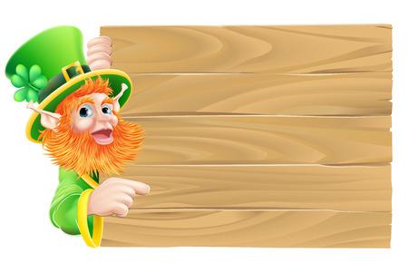 cartoon shamrock: Drawing of a St Patricks day leprechaun cartoon character pointing down at a sign