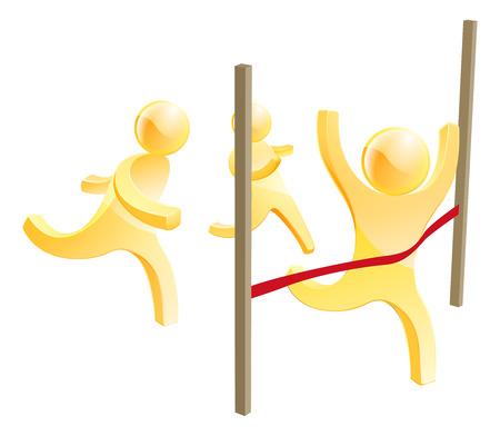 personne seule: Racing hommes concept avec une personne en cours d'ex�cution dans la fraction t�te gr�ce � une ligne de finition rouge Illustration