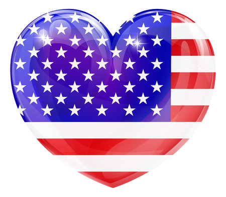 independance day: American flag love heart concept with the American flag in a heart shape