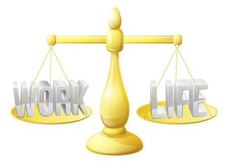 Work life balance concept, work and life on scales perfectly balanced Vector