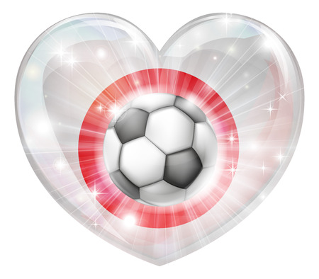 socer: Japan soccer football ball flag love heart concept with the Japanese flag in a heart shape and a soccer ball flying out
