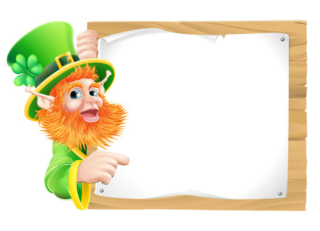 leprachaun: Leprechaun cartoon character pointing at a message pinned to a wooden sign