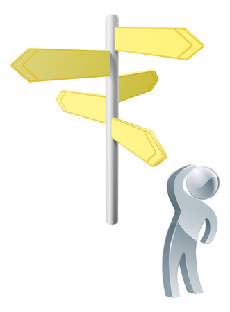 Deciding on route concept, a silver person deciding on the correct route looking at a road sign Vector