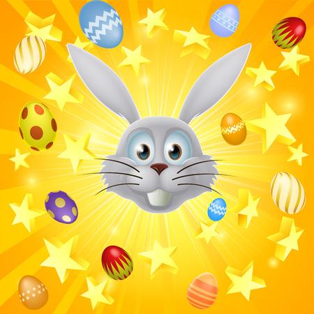 rabit: An Easter bunny, Easter egg and star explosion concept illustration Illustration