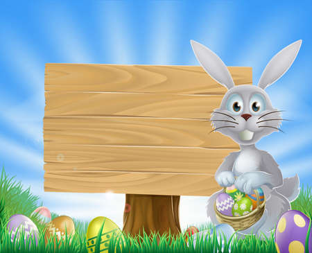 easter sign:  Easter bunny rabbit holding Easter eggs in a basket and a wooden sign  Illustration