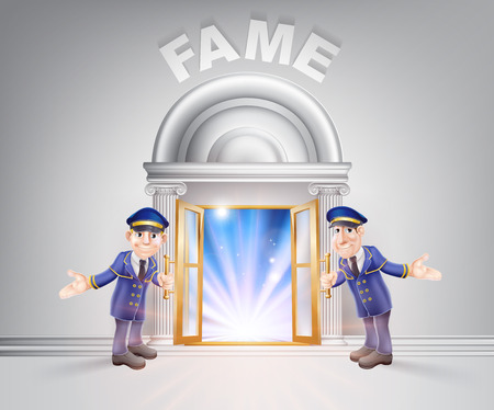 fame: Fame concept of a doormen hoding open a door to fame with light streaming through it.
