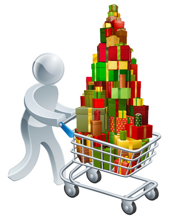 Person christmas gift shopping pushing shopping trolley cart full of gifts or presents Vector