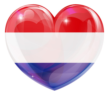 Dutch flag love heart concept with the Netherlands flag in a heart shape  Vector