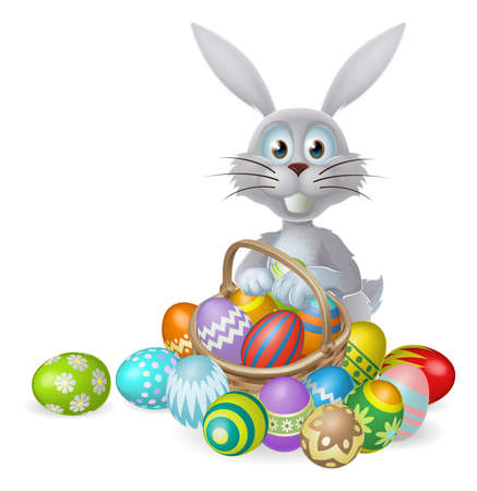 White Easter bunny rabbit with a basket of colorful chocolate Easter eggs Vector
