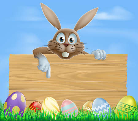 Wooden sign Easter bunny and decorated colourful eggs Vector