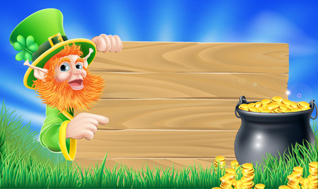 Cartoon Saint Patricks day leprechaun pointing at a sign wood sign with shamrock in his hat and a pot of gold Vector