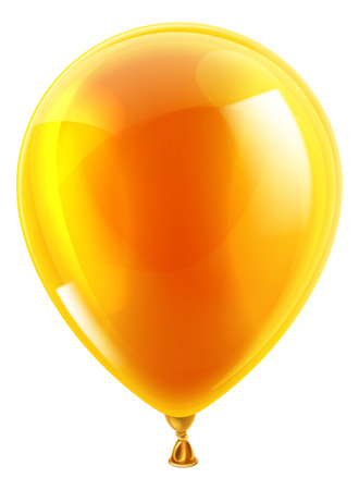 An illustration of an isolated orange birthday or party balloon Vector