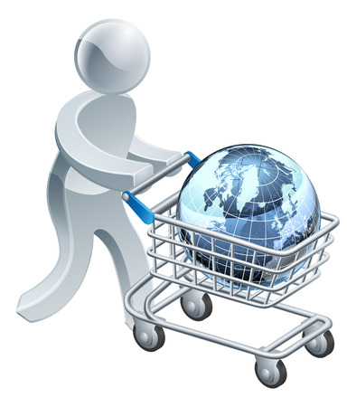trolly: A person pushing a shopping cart or trolley with a globe in it, could be shopping for internet provider or just online shopping Illustration