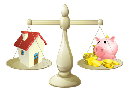 piggybank: House money cales concept  Piggy bank on one side of a scale and a house on the other  Can have several meanings relating to real estate, savings or mortgages