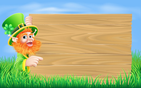 An illustration of a St Patricks day leprechaun cartoon character pointing at a sign Vector