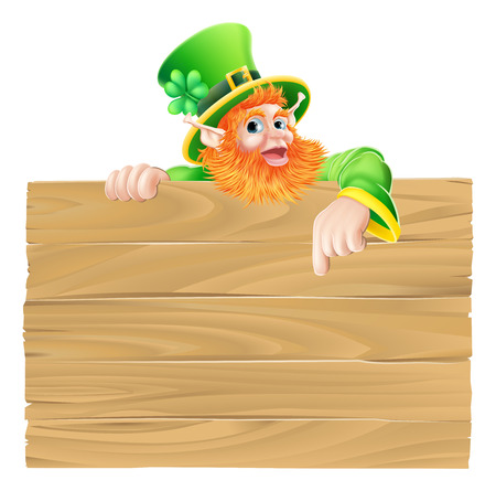 Saint Patrick s day leprachaun cartoon character pointing down at a sign Vector