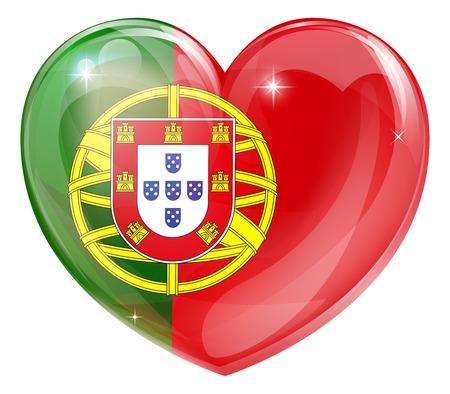 drapeau portugal: Portugal drapeau concept de coeur d'amour avec le drapeau portugais dans une forme de coeur
