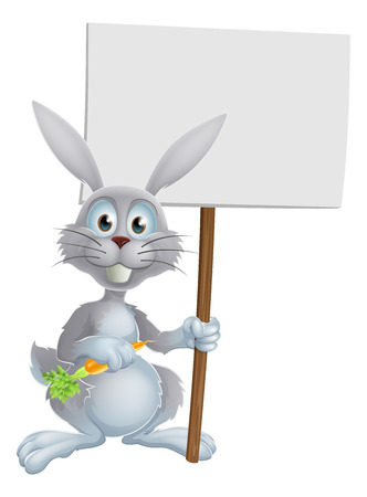 osterhase: White bunny rabbit with a tasty carrot and holding a blank sign