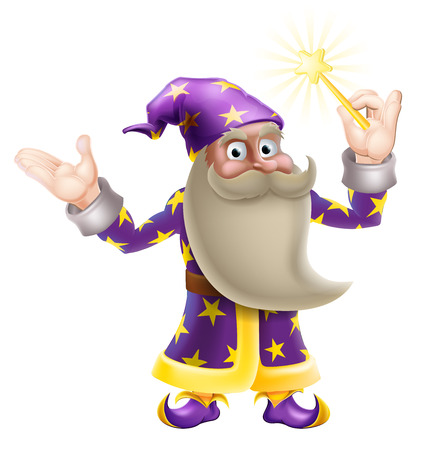 An illustration of a cartoon wizard character waving a magic wand Vector
