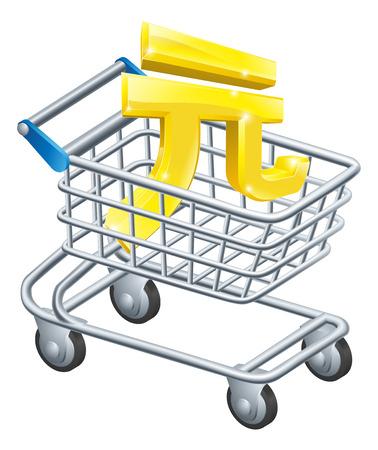 supermarket shopping cart: Yuan moneda concepto carro de Yuan signo en un carro de supermercado o carro Vectores