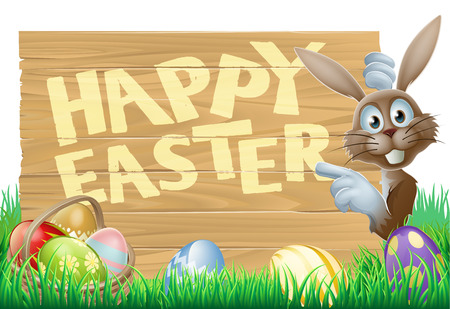 Easter bunny peeking round a sign with a basket of chocolate Easter eggs Vector