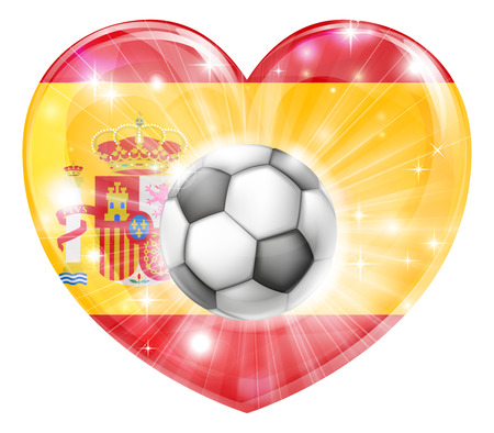 socer: Spain soccer football ball flag love heart concept with the Spanish flag in a heart shape and a soccer ball flying out