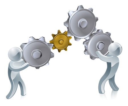 workings: An illustration of two silver people working cogs or gears