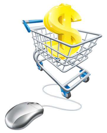 Dollar sign in shopping cart and computer mouse, concept for affiliate earning or making money on the internet, or other online finance concept Vector
