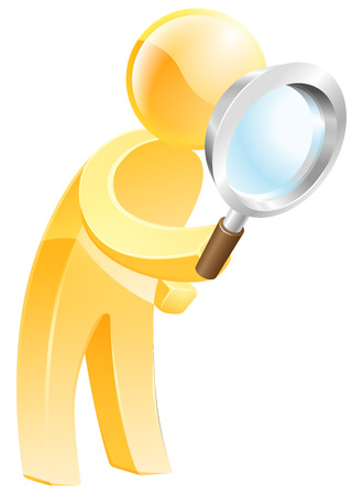 An illustration of a gold man looking down through a magnifying glass Vector