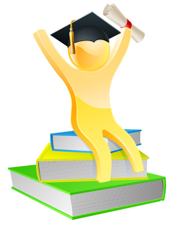Graduate sitting on books with convocation scroll certificate and mortar board graduation cap Vector