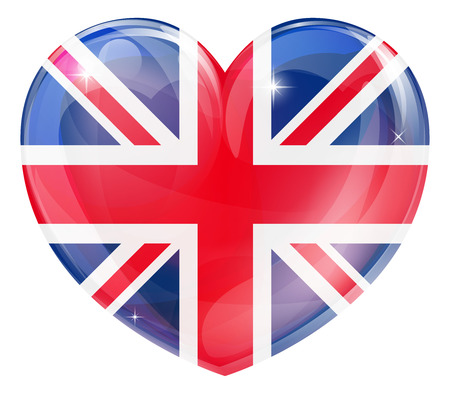 Britian flag love heart concept with the British flag in a heart shape  Vector