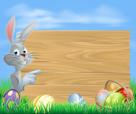 Easter white bunny rabbit pointing at a sign with a basket of chocolate Easter eggs Vector