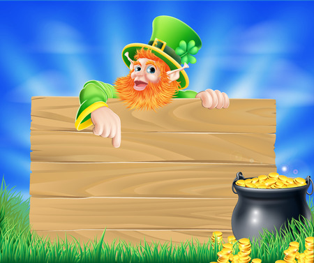 leprechaun background: St Patricks day leprechaun background with wooden sign and cauldron or pot of gold coins