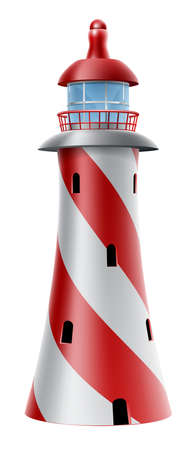 Illustration of a red and white lighthouse with diagonal stripes