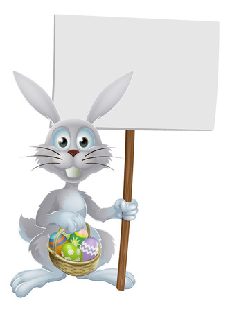 White Easter rabbit holding a sign and a basket of chocolate Easter eggs Vector