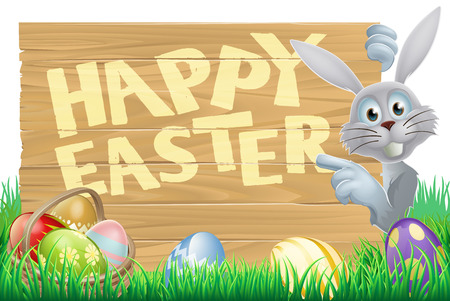 Easter bunny rabbit pointing at a sign with chocolate Easter eggs Vector