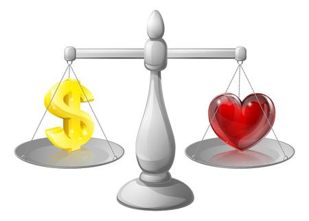 ungleichgewicht: Geld oder Liebe Waagen, Waagen mit einem Dollarzeichen auf der einen Seite und ein Herz auf der anderen
